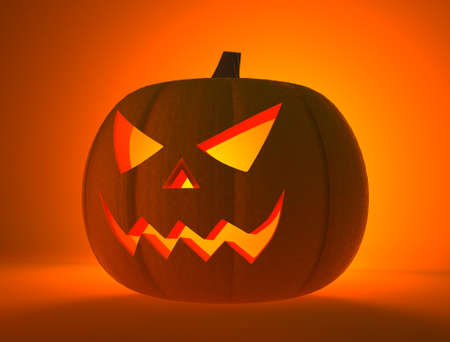 Halloween pumpkin with scary face (3D Render) Stock Photo