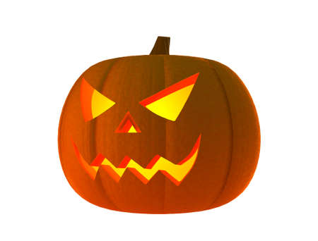 3d scary: Halloween pumpkin with scary face (3D Render) Stock Photo
