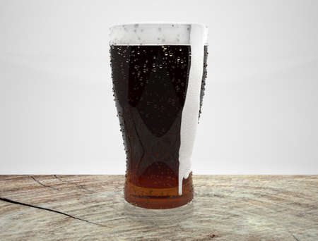 wood table: 3d render of beer in glass on wood table