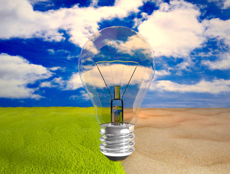 save environment: eco bulb over desert , green grass and blue sky