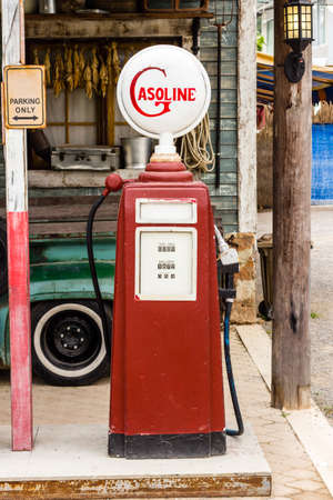 aged: The aged and worn vintage gas pump