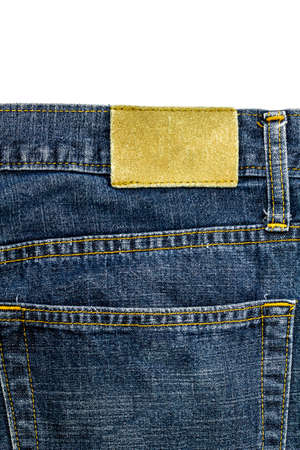 inner wear: The Leather jeans label sewed on jeans.