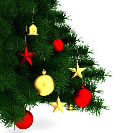 �tree: �rbol de Navidad decorado sobre fondo blanco