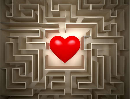 Red hearth in labyrinth , Find for LOVE Stock Photo