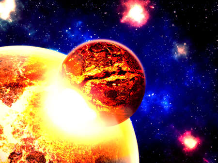 meteorites: Planet destroyed in collision - illustration of planetary collision