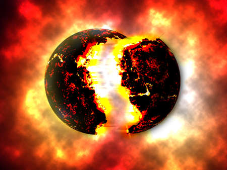 A large bomb of Exploding Planet. Exploding Planettheory Stock Photo