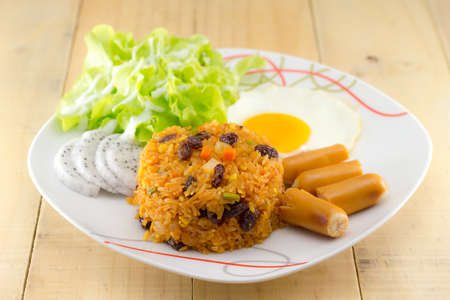 American style breakfast set, fried rice with egg