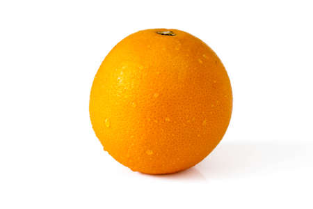 Orange with drops  on the white background