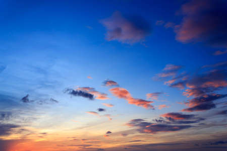 colorful dramatic sky with cloud at sunrise Stock Photo