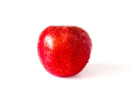 Red apple with drops  on white background Stock Photo