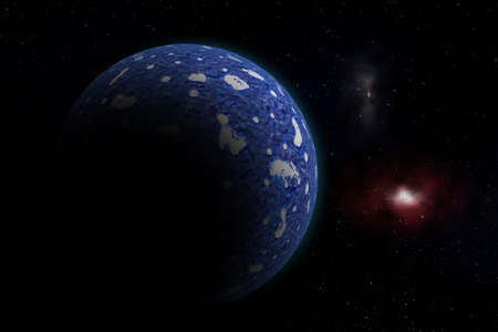 The Blue Planet Deep in the Space  Stock Photo