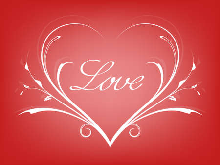 Valentines card with line heart and love
