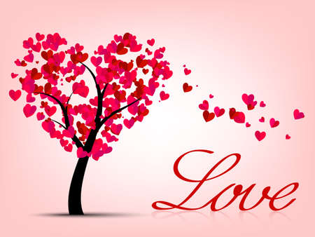 Valentines card with heart tree and love Illustration