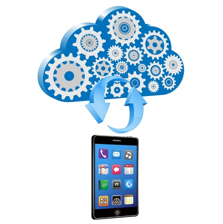 smart phone synchronize with cloud  photo