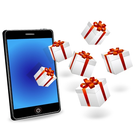 smart phone and gift boxes