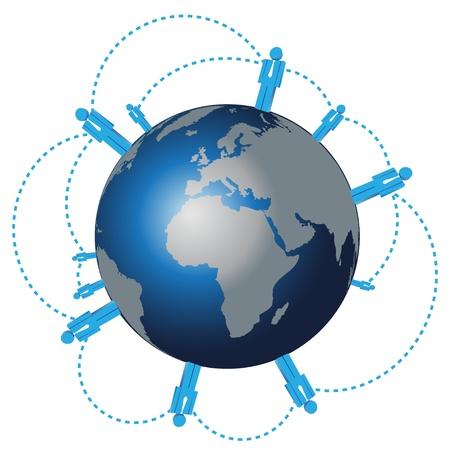 vector world wide human network   イラスト・ベクター素材