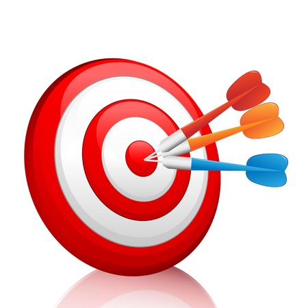 business goal: Vector colorful darts hitting a target  Illustration