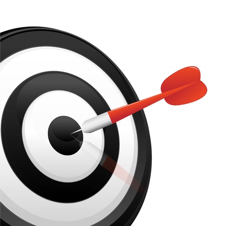 business advice: dart hitting a target  Illustration