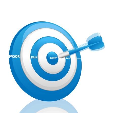 dardo azul de evaluación