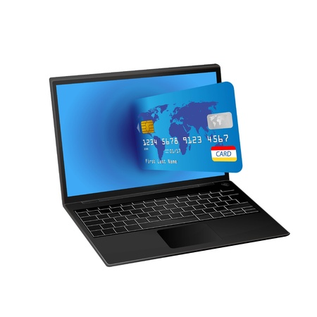 card payment: laptop computer with credit card