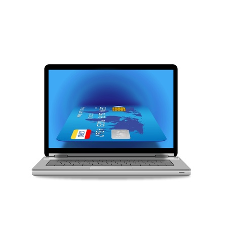laptop computer with credit card  Vector