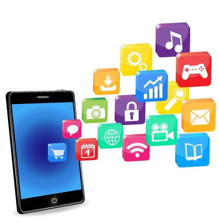 smartphone business: smart phone applications on a white