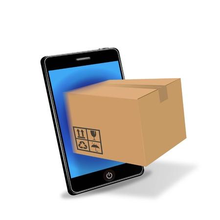 phone box: internet shopping with smart phone  Illustration