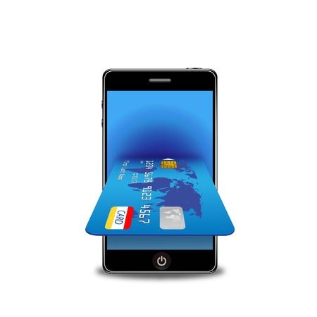 overdracht: internet winkelen met slimme telefoon en een creditcard Stock Illustratie