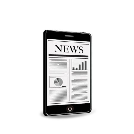 スマート フォンで新聞を読む  イラスト・ベクター素材