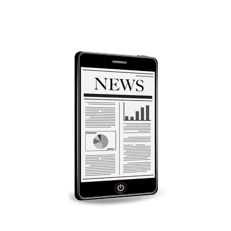 newspaper articles: reading newspaper with smart phone