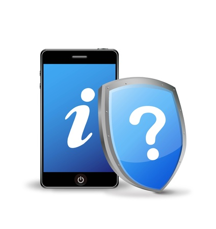 wiretapping: smart phone with question and information sign