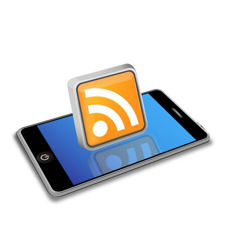 news reader: smart phone and RSS icon