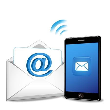 teléfono inteligente envío de correo electrónico sobre un fondo blanco Ilustración de vector