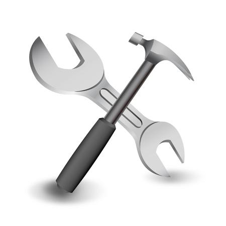 construct: hamer en sleutel op een witte Stock Illustratie