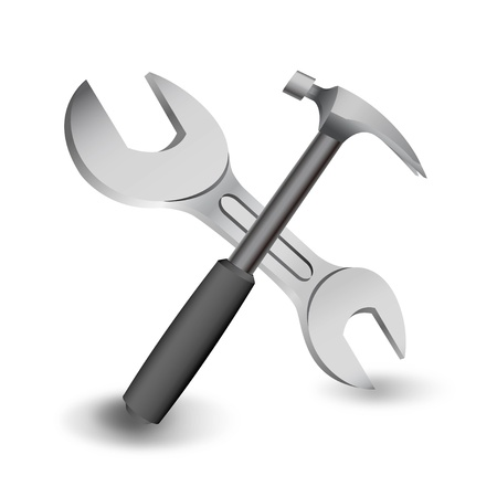 hammer and spanner on a white  向量圖像