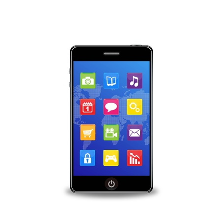smart phone with applications Stock Vector - 12270207