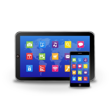 tablet pc and smart phone with applications Vector