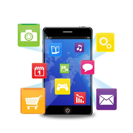 mobile app: Illustration of a smart phone with icons Illustration