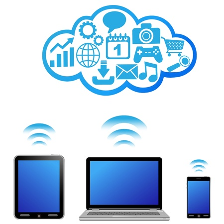 Illustration of various devices with a cloud of icons 일러스트