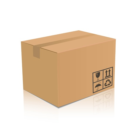 ship package: Illustration of a brown box Illustration