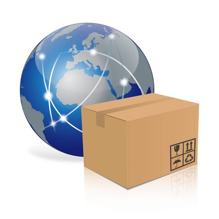 contain: Illustration of a globe and a brown box