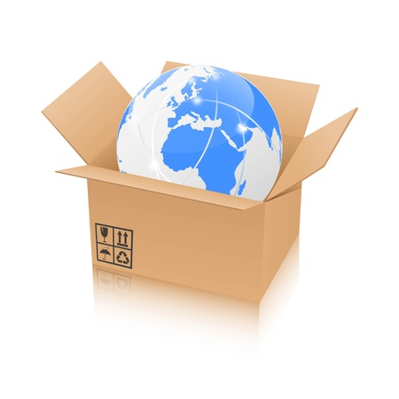 order shipment: Illustration of a globe inside a brown box