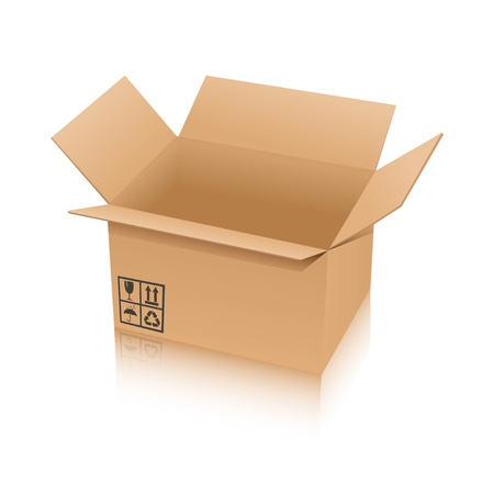 Illustration of an opened brown box Illustration