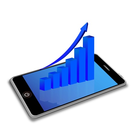 stock market return: Illustration of a smartphone with graph bar Illustration