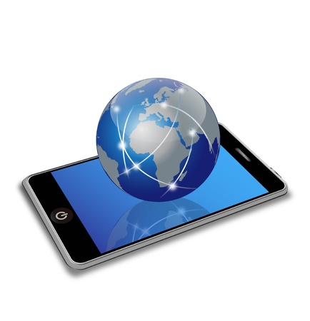Illustration of a smartphone and a globe Vector