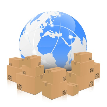 shipments: Illustration of a globe surrounded by brown boxes