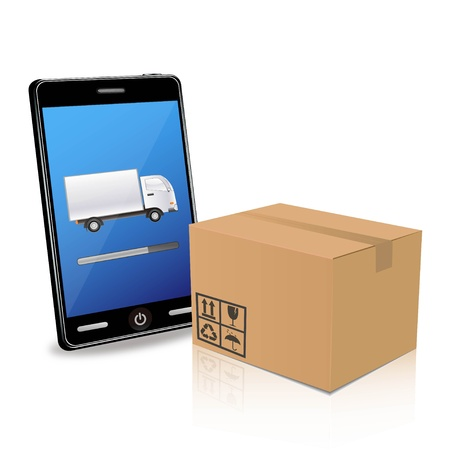 packaging move: Illustration of a smartphone with a brown box Illustration