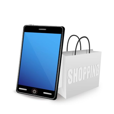 Illustration of smartphone and shopping bag Stock Vector - 12270265