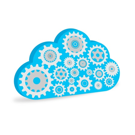 synchronize: Illustration of a cloud filled with gears