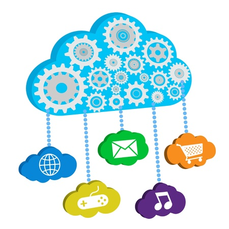 Cloud of gears with various icons Vector